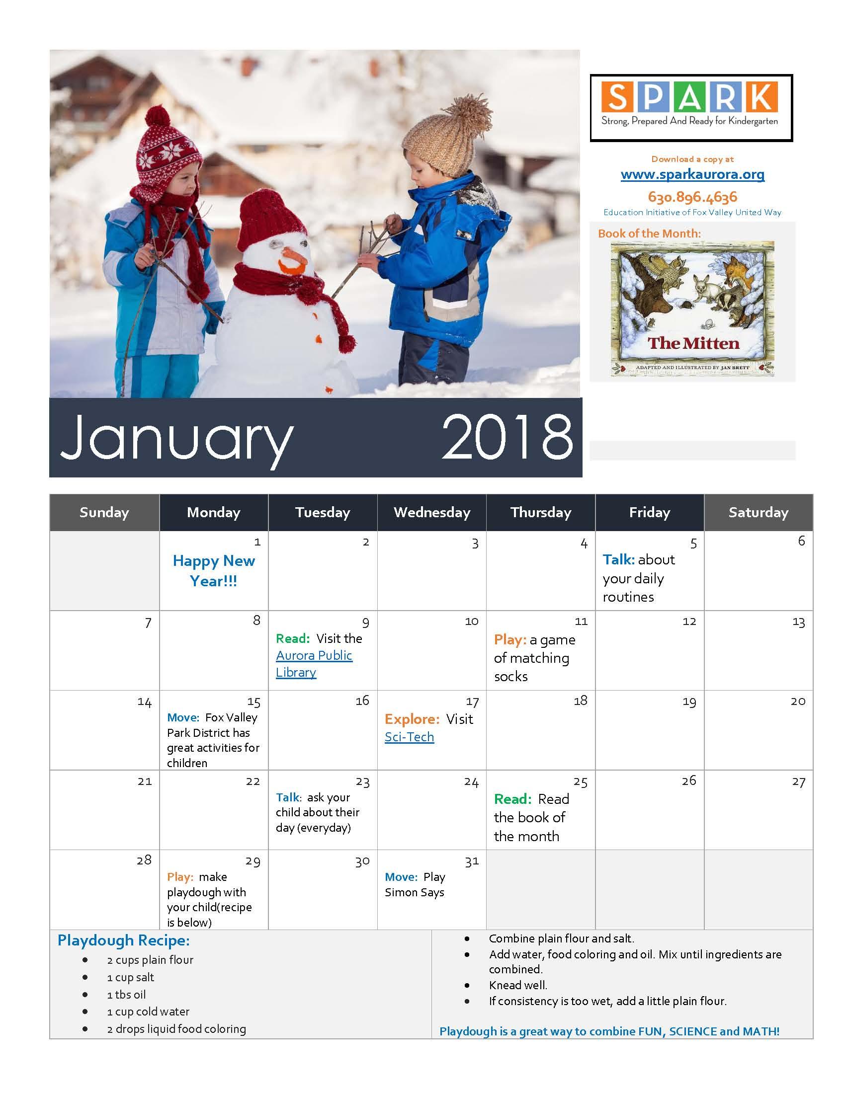 January Calendar | SPARK Aurora